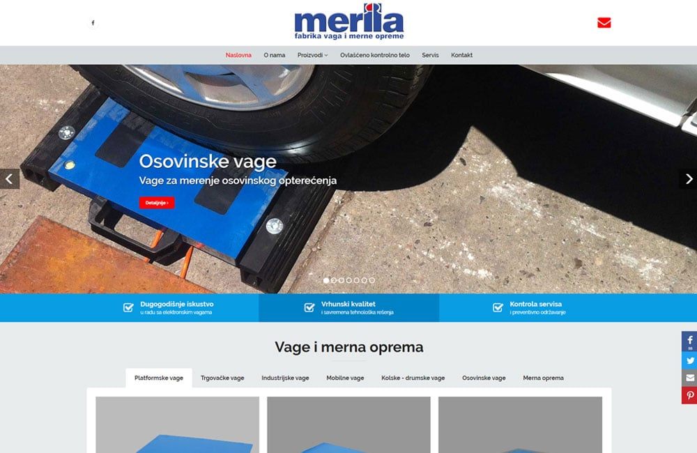 Merila website screenshot