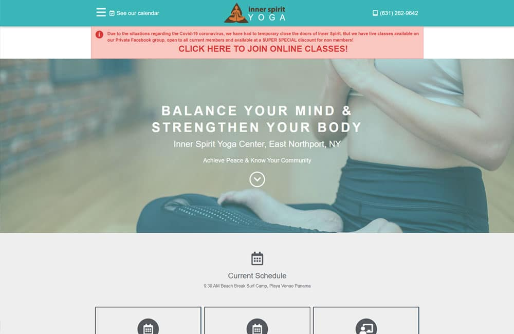 Inner Spirit Yoga website screenshot