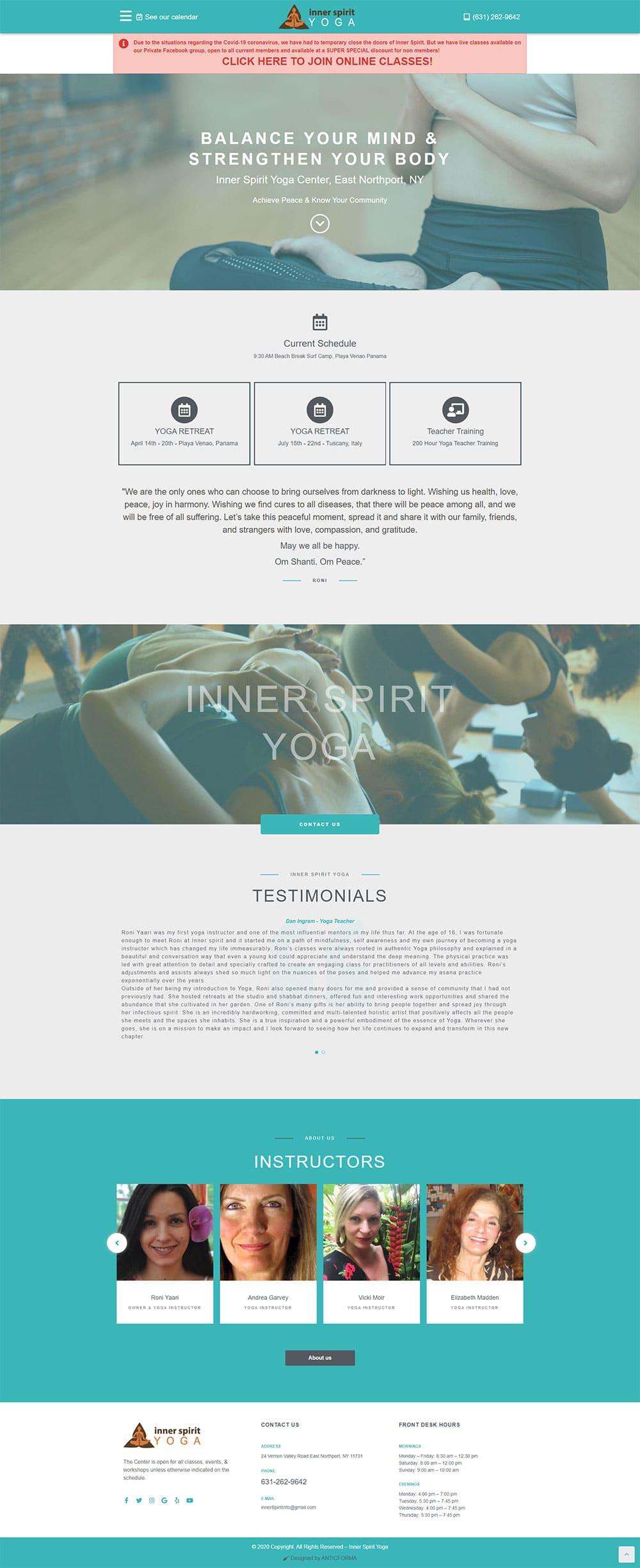 Inner Spirit Yoga website screenshot