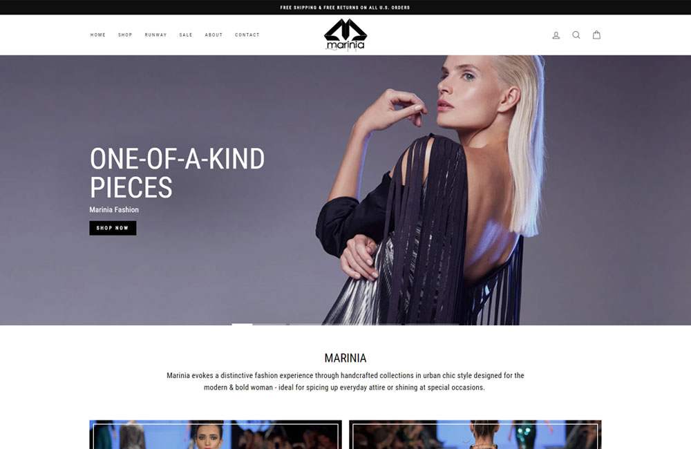 Marinia Fashion website screenshot