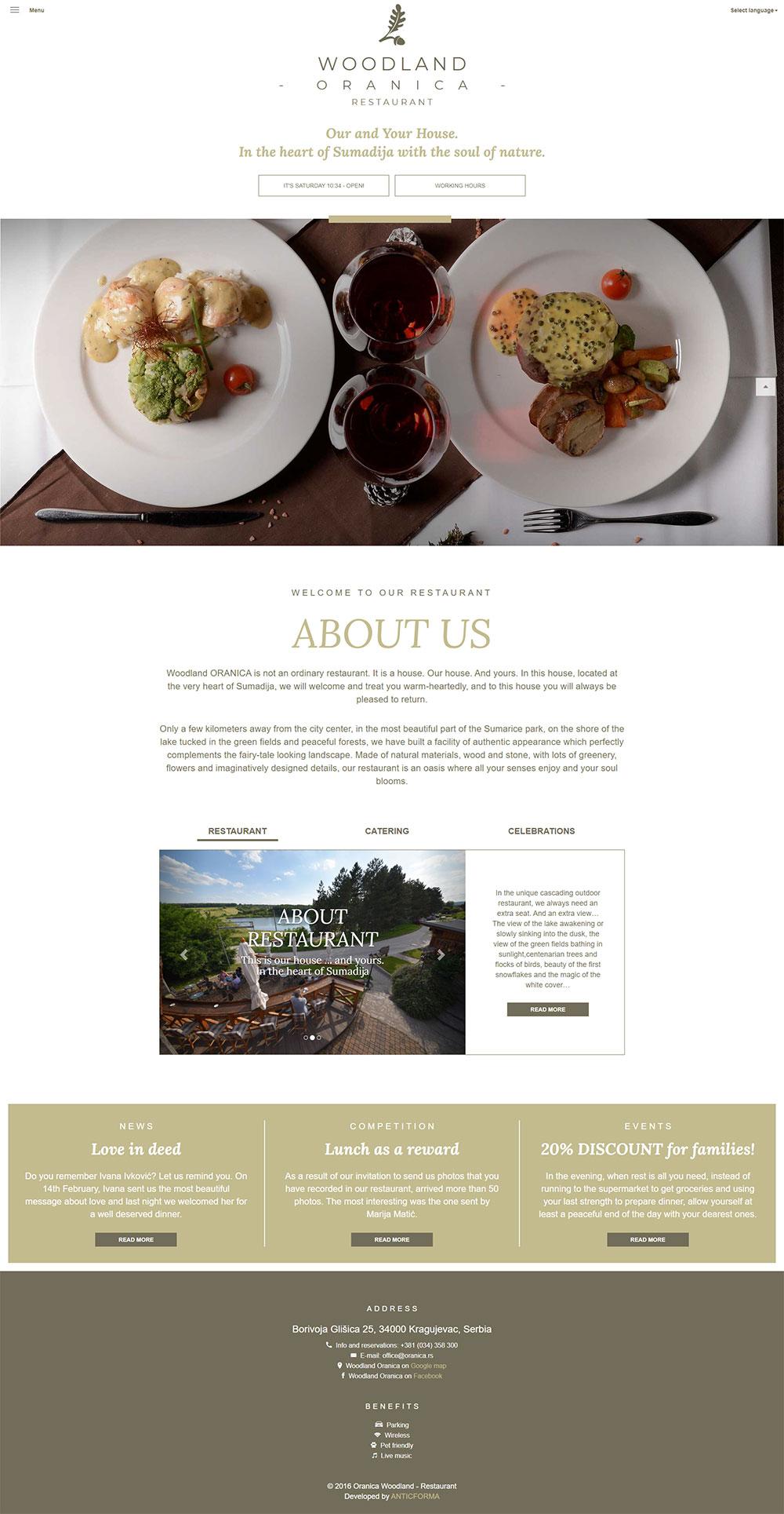 Restaurant Oranica website screenshot