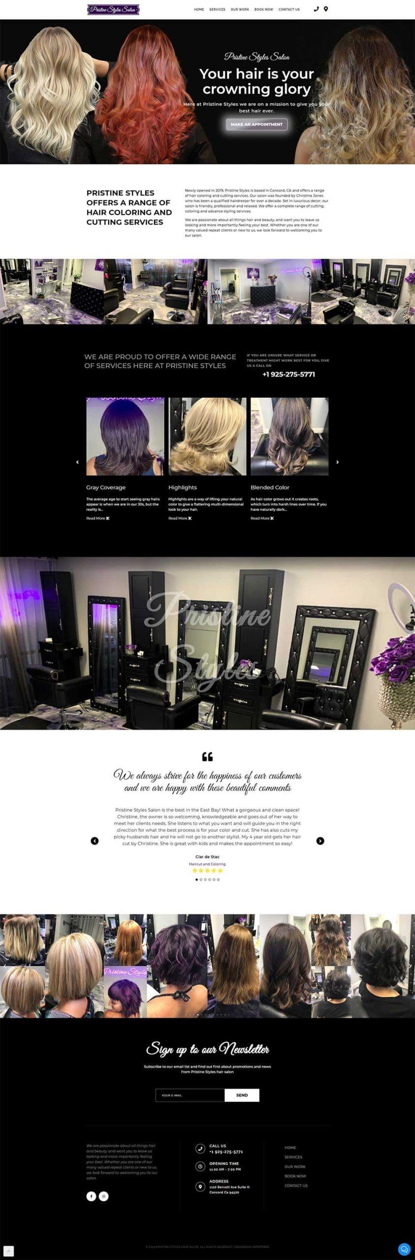 Pristine Styles website screenshot