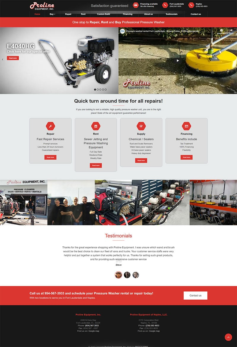 Proline Equipment website screenshot
