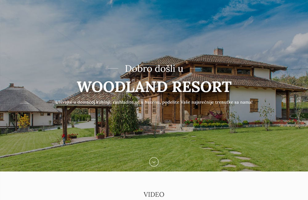 Woodland Resort website screenshot